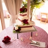square-wedding-cake-dark-red-ribbon-mcguire-photography-4