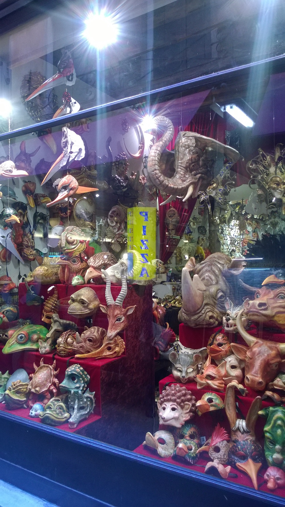 Even the Venetian animal masks are ready for a snack (see the hidden sign)