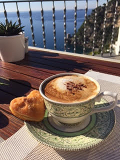Krista & Mike's morning caffe with heart-shaped donuts...are you kidding? Amazing Italians!