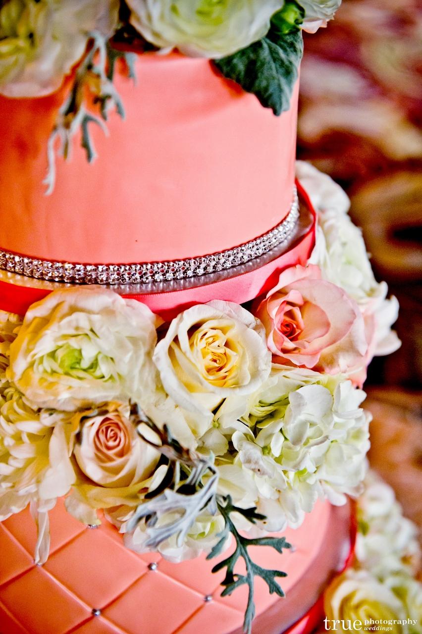 coral wedding cake at Hotel Del