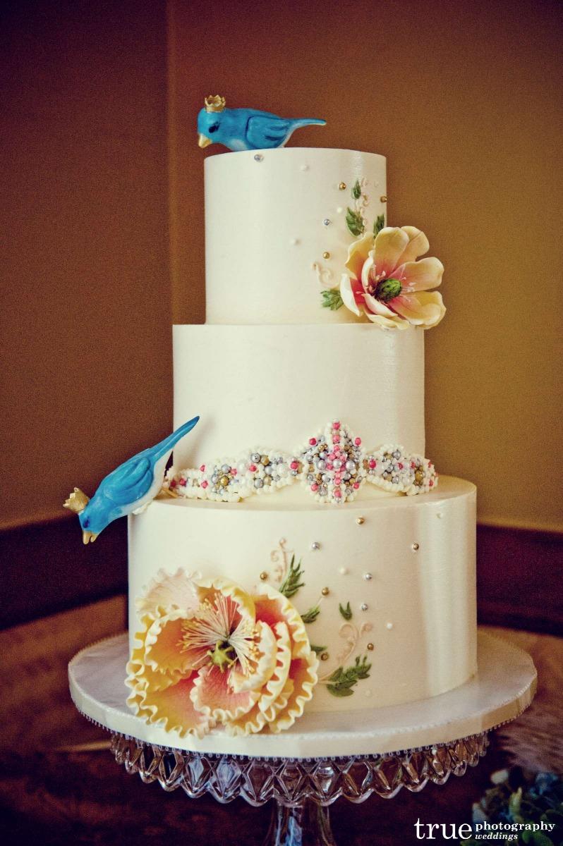 bluebird cake toppers, dress deail