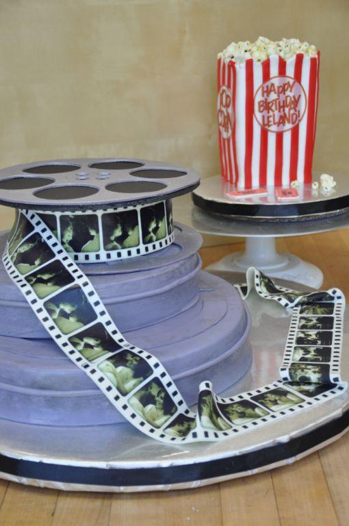 Film reels & popcorn cake