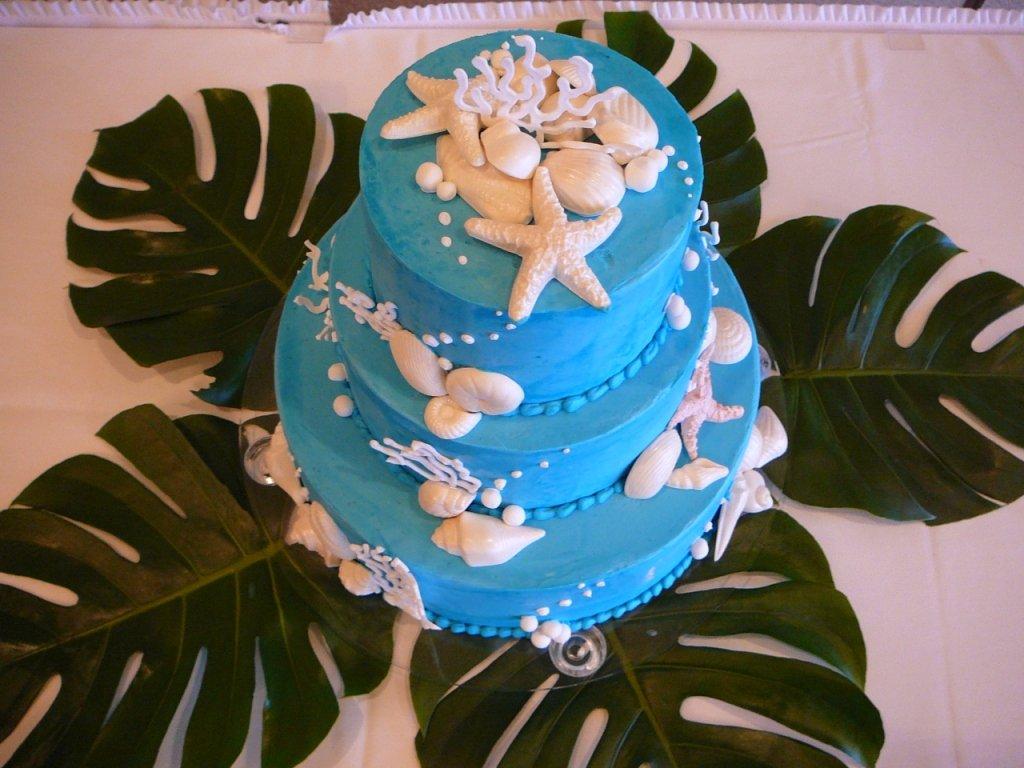 deep blue shell cake