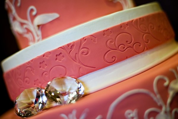 embossed scroll on pink