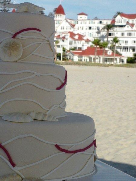 Hotel Del wedding, Natural sand dollar look
