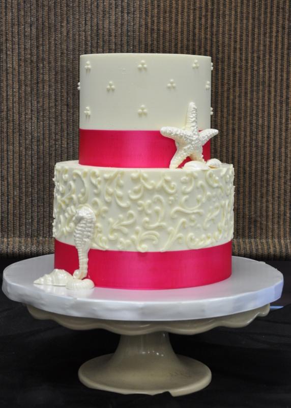 beach-wedding-cake-coral-pink-sea-horse-starfish-scroll