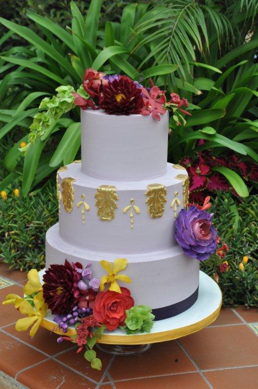 lavender cake, sugar flowers