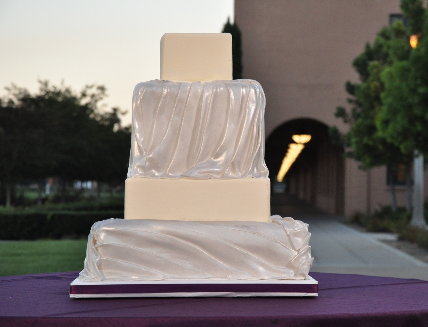 Ruched dress cake