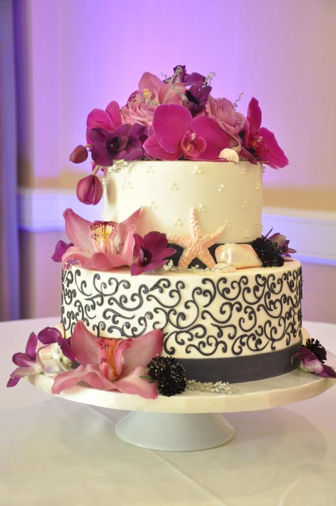 eggplant-purple-wedding-cake-scroll-design-embellishmint-floral-design-flowers