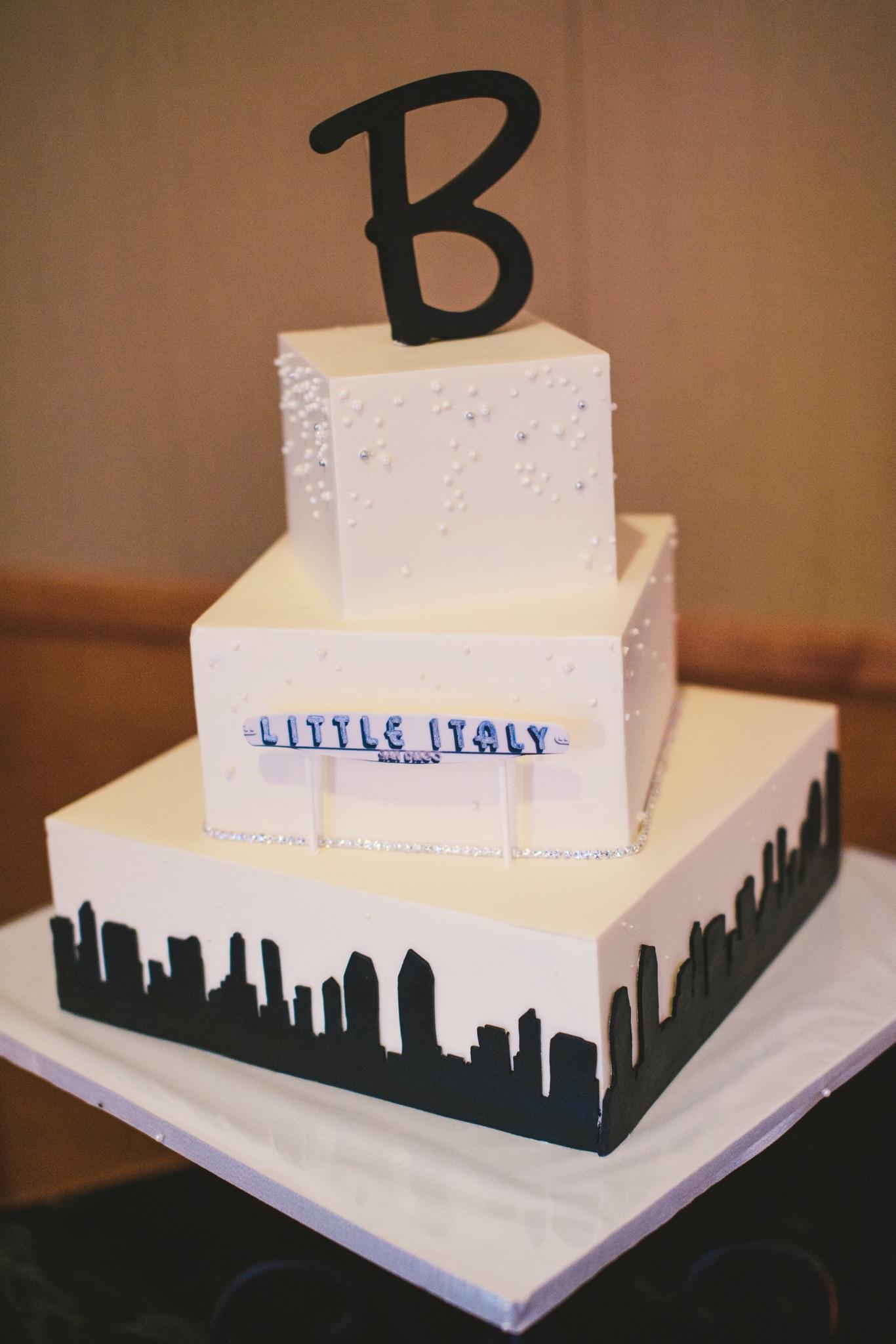 san-diego-skyline-with-little-italy-sign-wedding-cake-by-sweet-cheeks-walter-wilson-studios